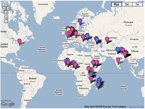 Akvo projects and partner map